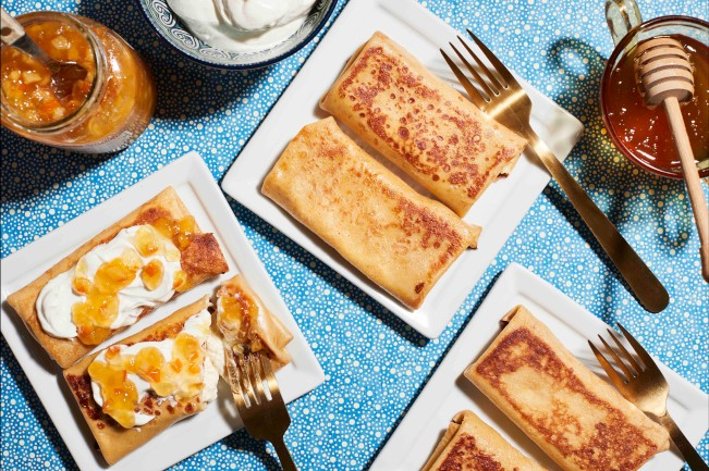 HONEY, ORANGE & CHEESE BLINTZES FOR PANCAKE DAY